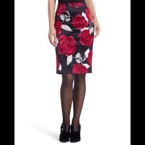 WHBM Black Satin Rose Pencil Skirt Size 8